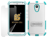 TURQUOISE TRI-SHIELD CASE STAND SCREEN SAVER FOR MOTOROLA MOTO-G 2nd GEN XT1064