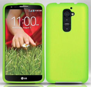 LIME GREEN RUBBERIZED HARD SHELL CASE COVER FOR LG G2 (Sprint, AT&T, Tmobile)