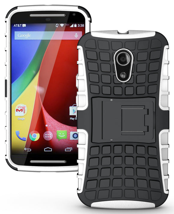 WHITE GRENADE GRIP RUGGED TPU SKIN HARD CASE COVER STAND FOR MOTO-G 2nd GEN 2014