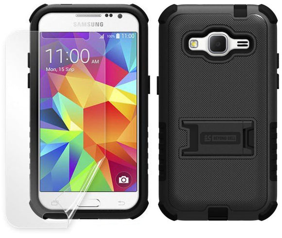 BLACK TRI-SHIELD CASE COVER STAND SCREEN PROTECTOR FOR SAMSUNG GALAXY CORE PRIME