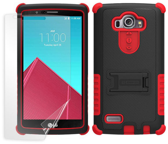 RED TRI-SHIELD SOFT SKIN HARD CASE COVER KICKSTAND SCREEN PROTECTOR FOR LG G4