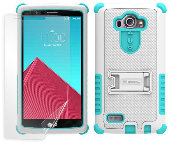 TURQUOISE WHITE TRI-SHIELD SKIN CASE COVER KICKSTAND SCREEN PROTECTOR FOR LG G4