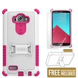 WHITE PINK TRI-SHIELD SKIN HARD CASE COVER KICKSTAND SCREEN PROTECTOR FOR LG G4