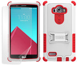 WHITE RED TRI-SHIELD SKIN HARD CASE COVER KICKSTAND SCREEN PROTECTOR FOR LG G4