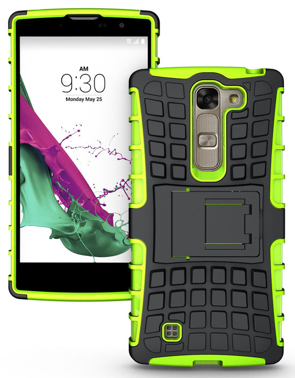 LIME GREEN GRENADE GRIP RUGGED SKIN HARD CASE COVER STAND FOR LG VOLT-2 LS751
