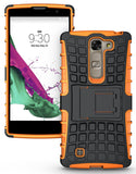 NEON ORANGE GRENADE GRIP RUGGED SKIN HARD CASE COVER STAND FOR LG VOLT-2 LS751