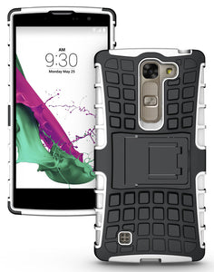 WHITE GRENADE GRIP RUGGED TPU SKIN HARD CASE COVER STAND FOR LG VOLT-2 LS751