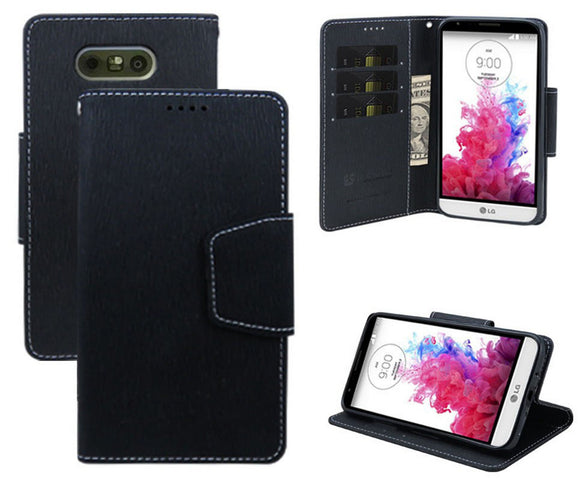 BLACK INFOLIO WALLET CREDIT CARD ID CASH CASE COVER STAND FOR LG G5 PHONE