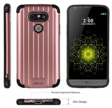 ROSE GOLD PINK MATTE METALLIC SLIM DUO-SHIELD CASE RUGGED RIBBED COVER FOR LG G5