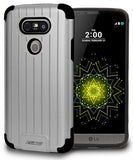 SILVER MATTE METALLIC SLIM DUO-SHIELD CASE RUGGED RIBBED HYBRID COVER FOR LG G5