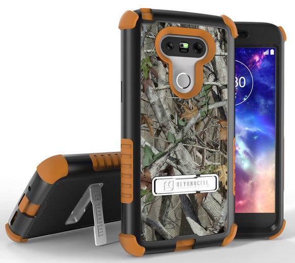 AUTUMN WOODS CAMO LEAF TREE TRI-SHIELD RUGGED CASE COVER STAND FOR LG G5