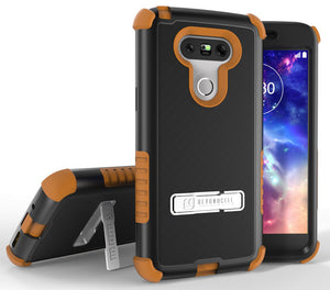 BROWN RUGGED TRI-SHIELD RUBBER GRIP SKIN HARD CASE COVER METAL STAND FOR LG G5