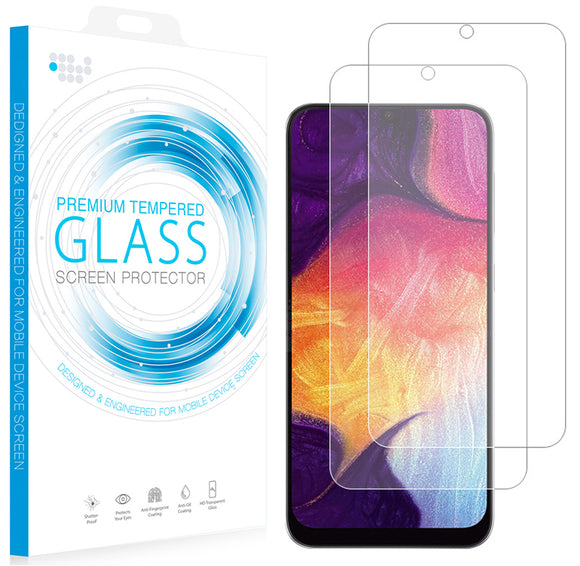 2X Hard 9H Tempered Glass Screen Protector for Samsung Galaxy A50, A30, A20 2019