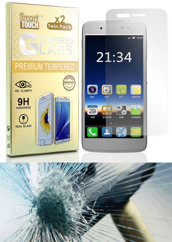 2X CLEAR HARD TEMPERED GLASS SCREEN PROTECTOR FOR ALCATEL DAWN/IDEAL/STREAK