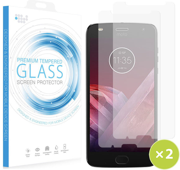 2X Hard Tempered Glass 9H Clear Screen Protector for Motorola Moto G6 Play/Forge