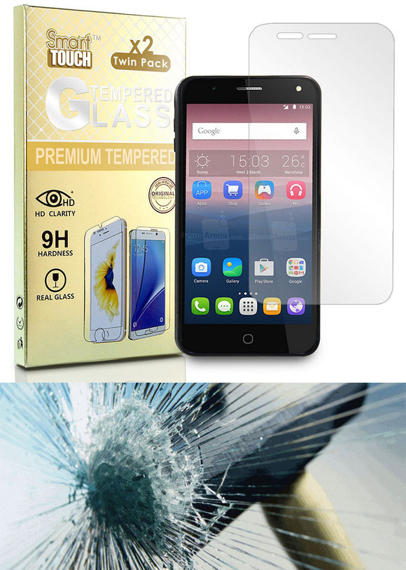 2X HARD TEMPERED GLASS SCREEN PROTECTOR CRACK SAVER FOR ALCATEL FIERCE 4, ALLURA