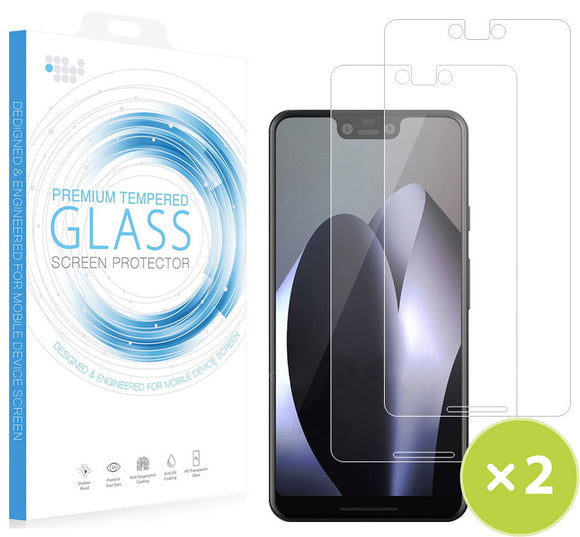 2X CLEAR HARD TEMPERED GLASS SCREEN PROTECTOR CRACK SAVER FOR GOOGLE PIXEL 3 XL