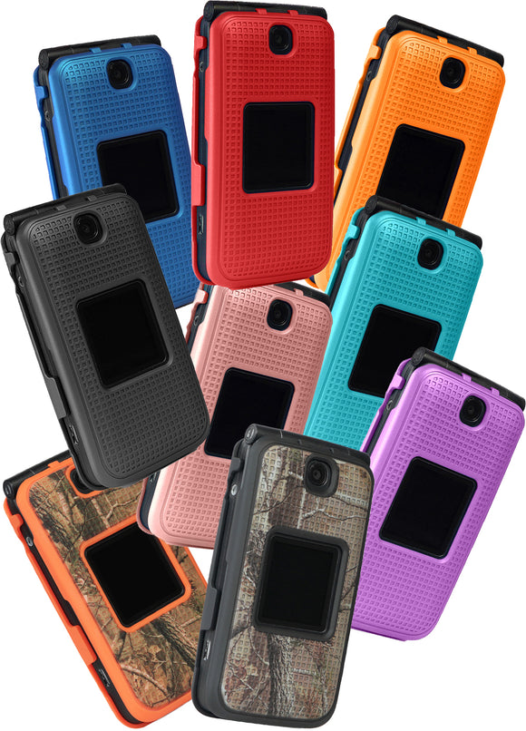 Grid Texture Case Slim Cover for Alcatel Go Flip V, MyFlip, QuickFlip, Flip-2