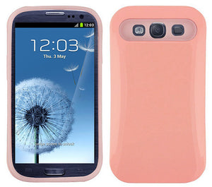 GLOSSY BABY PINK HYBRID HARD SHELL CASE COVER FOR SAMSUNG GALAXY S3 S III