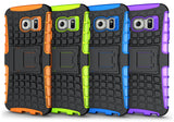 NEON ORANGE GRENADE GRIP TPU SKIN CASE COVER STAND FOR SAMSUNG GALAXY S6 EDGE
