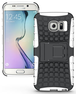 WHITE GRENADE GRIP SKIN HARD CASE COVER STAND FOR SAMSUNG GALAXY S6 EDGE SM-G925