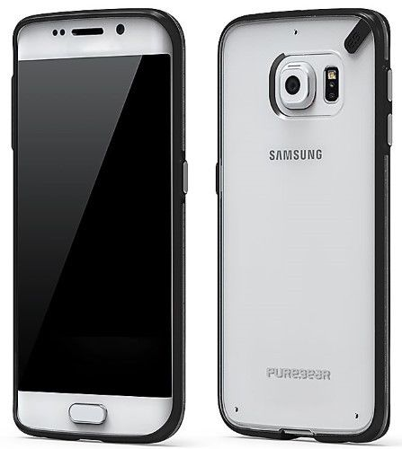 PUREGEAR SLIM SHELL BLACK/CLEAR CASE COVER FOR SAMSUNG GALAXY S6 EDGE SM-G925