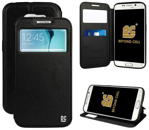 BLACK INFOLIO WINDOW WALLET CREDIT ID CARD CASE STAND FOR SAMSUNG GALAXY S6 EDGE