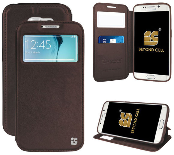BROWN INFOLIO WINDOW WALLET CREDIT ID CARD CASE STAND FOR SAMSUNG GALAXY S6 EDGE