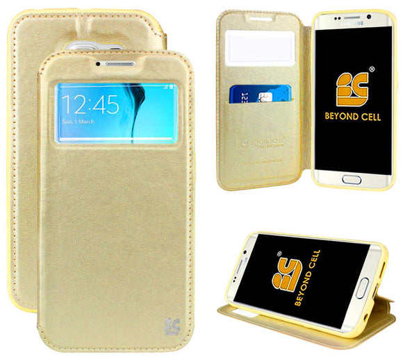 GOLD INFOLIO WINDOW WALLET CREDIT ID CARD CASE STAND FOR SAMSUNG GALAXY S6 EDGE
