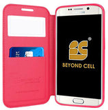 PINK INFOLIO WINDOW WALLET CREDIT ID CARD CASE STAND FOR SAMSUNG GALAXY S6 EDGE