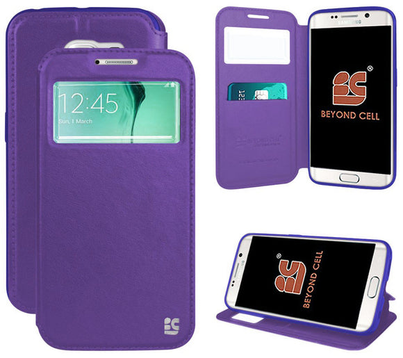 PURPLE INFOLIO WINDOW WALLET CREDIT CARD CASE STAND FOR SAMSUNG GALAXY S6 EDGE