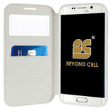 WHITE INFOLIO WINDOW WALLET CREDIT ID CARD CASE STAND FOR SAMSUNG GALAXY S6 EDGE