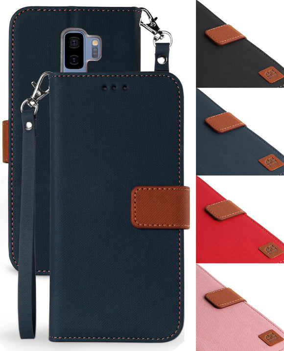 MAGNETIC FLAP WALLET CASE STAND + LANYARD STRAP FOR SAMSUNG GALAXY S9 Plus, S9+