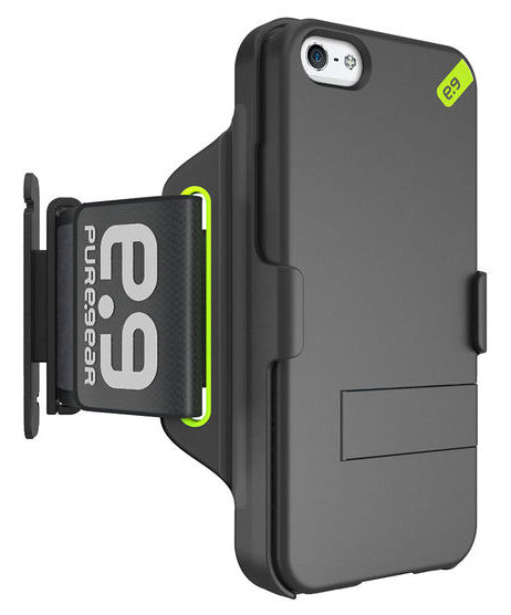 PUREGEAR HIP SPORTS BLACK/LIME ARMBAND + CASE STAND FOR APPLE iPHONE 5 5s SE