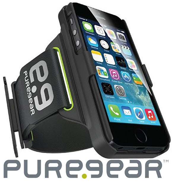 PUREGEAR HIP SPORTS BLACK/LIME ARMBAND + CASE STAND FOR APPLE iPHONE 6 6s