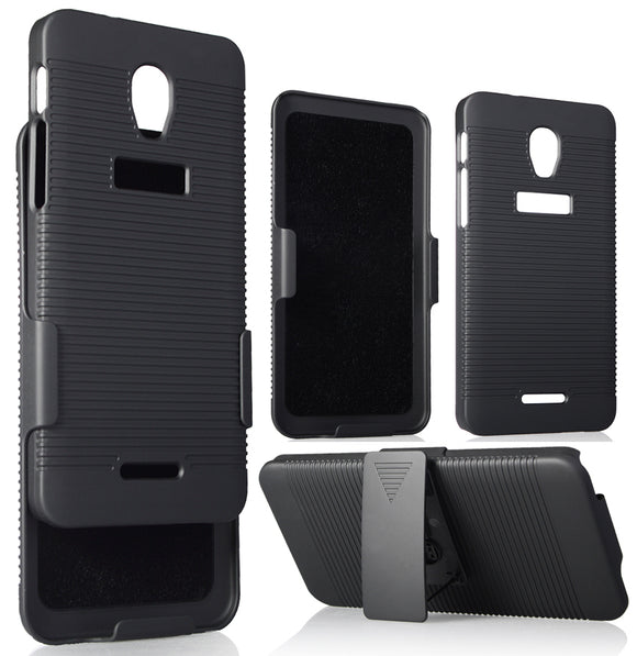 BLACK RIBBED CASE COVER + BELT CLIP HOLSTER STAND FOR ALCATEL FIERCE 4, ALLURA
