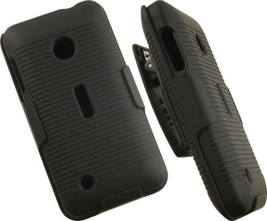 BLACK RUBBERIZED HARD CASE + BELT CLIP HOLSTER STAND FOR NOKIA LUMIA 530 PHONE