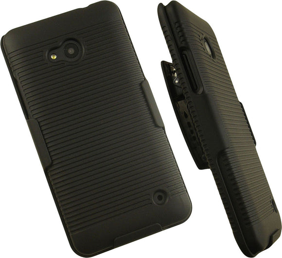 BLACK RUBBERIZED HARD CASE COVER BELT CLIP HOLSTER STAND FOR MICROSOFT LUMIA 640