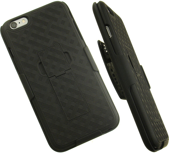 BLACK WEAVE KICKSTAND HARD CASE + BELT CLIP HOLSTER STAND FOR iPHONE 6 PLUS 5.5