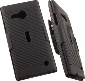 BLACK CASE COVER + BELT CLIP HOLSTER STAND FOR NOKIA MICROSOFT LUMIA 735 730