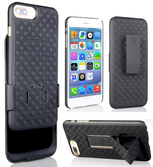 BLACK RUBBERIZED KICKSTAND CASE + BELT CLIP HOLSTER STAND FOR iPHONE 7/8 PLUS
