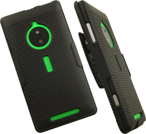 BLACK RUBBERIZED HARD CASE COVER + BELT CLIP HOLSTER STAND FOR NOKIA LUMIA 830