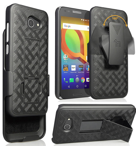 Black Kickstand Case Cover + Belt Clip Holster for Alcatel A30/Kora/Zip LTE 5.0