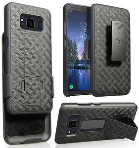 Black Kickstand Case Cover + Belt Clip Holster for Samsung Galaxy S8