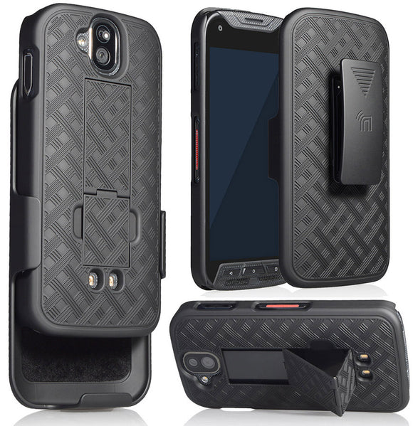 BLACK KICKSTAND CASE + BELT CLIP HOLSTER FOR KYOCERA DURAFORCE PRO E6810 E6820