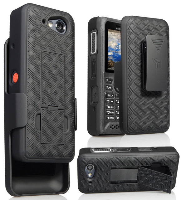 Black Kickstand Case Cover + Belt Clip Holster for Kyocera DuraTR E4750