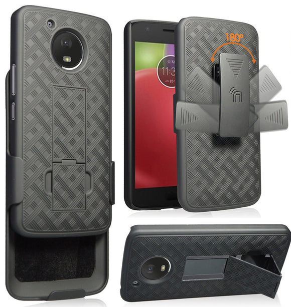 Black Kickstand Case Cover + Belt Clip Holster for Motorola Moto E4 Plus, E4+