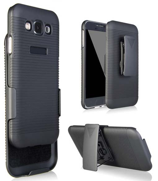 NEW BLACK HARD CASE COVER + BELT CLIP HOLSTER STAND FOR SAMSUNG GALAXY E5 PHONE