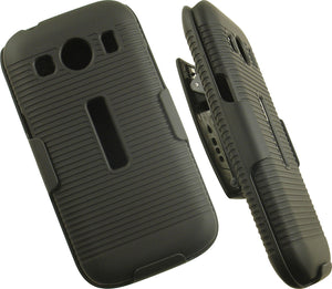 BLACK CASE COVER + BELT CLIP HOLSTER STAND FOR SAMSUNG GALAXY ACE STYLE LTE G357