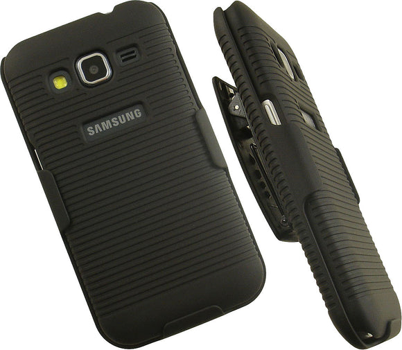 BLACK HARD CASE COVER BELT CLIP HOLSTER STAND FOR SAMSUNG GALAXY PREVAIL LTE